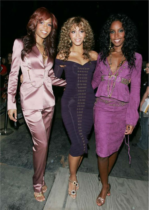 Destiny's Child members Michelle Williams, Beyonce and Kelly Rowland appear at the 'Rockin' The Corps' concert at Camp Pendleton, a Marine Corps base in San Diego, California on April 1, 2005.