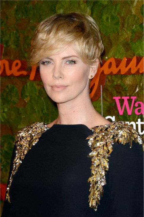 Charlize Theron attends the Wallis Annenberg Center for the Performing Arts Inaugural Gala, presented by Salvatore Ferragamo, at the Wallis Annenberg Center in Beverly Hills on Oct. 17, 2013. She is wearing a black and gold Alexander McQueen Pre-Fall 2013 gown. <span class=meta>(Lionel Hahn &#47; AbacaUSA &#47; Startraksphoto.com)</span>