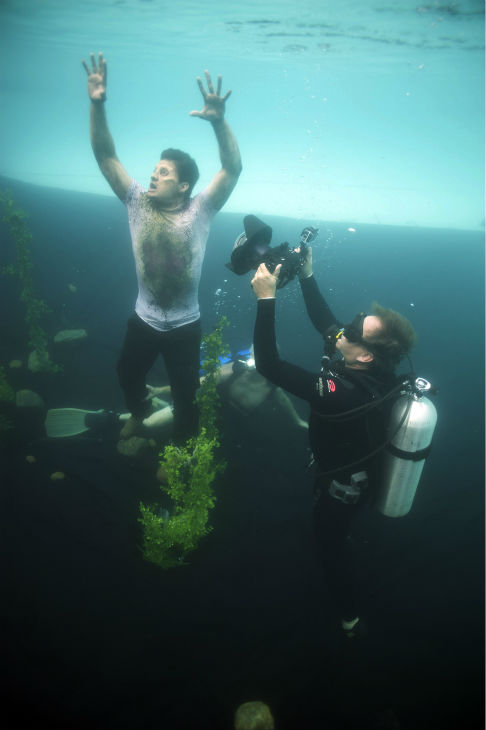 "<div class=""meta image-caption""><div class=""origin-logo origin-image ""><span></span></div><span class=""caption-text"">Enver Gjokaj (Pete, now a Walker) films a scene underwater on the set of AMC's 'The Walking Dead' while filming episode 5 of season 4, titled 'Dead Weight,' which aired on Nov. 24, 2013. (Gene Page / AMC)</span></div>"
