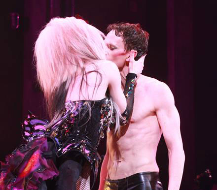 Neil Patrick Harris kisses a co-star on stage during opening night of the rock musical &#39;Hedwig and the Angry Itch&#39; on Broadway in New York on April 22, 2014. The &#39;How I Met Your Mother&#39; and &#39;Doogie Howser&#39; alum plays a transgender East German rocker in the show, which is set during the Cold War. Hedwig lives in a trailer park in Kansas and is the singer of a band called the Angry Itch. She longs to be reunited with her lover, Tommy. <span class=meta>(Adam Nemser &#47; Startraksphoto.com)</span>