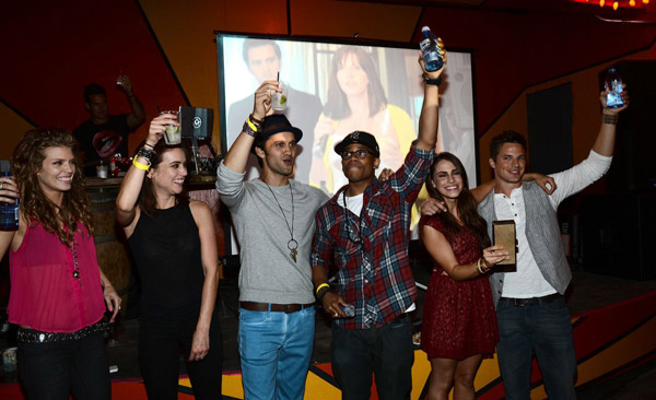 L to R: AnnaLynne McCord, Jessica Stroup, Michael Steger, Tristan Wilds, Jessica Lowndes and Matt Lanter are pictured at Pink Taco in L.A. on Sept. 29, 2012 to celebrate the CW show '90210's 100th episode, ahead of the season 5 premiere.