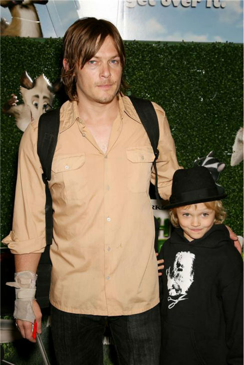 The &#39;Hottest-Dad-Ever&#39; stare: Norman Reedus poses with son Mingus at the premiere of Dreamworks&#39; animated film &#39;Over The Hedge&#39; in New York on May 16, 2006. <span class=meta>(Marion Curtis &#47; Startraksphoto.com)</span>