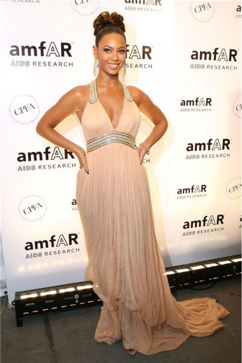 Beyonce appears at an amfAR event honoring John Demsey, Whoopi Goldberg  and Bill Roedy, with special tributes to Dr. Matilde Krim and Sharon Stone, at the Cipriani restaurant in New York on Jan. 31, 2007.