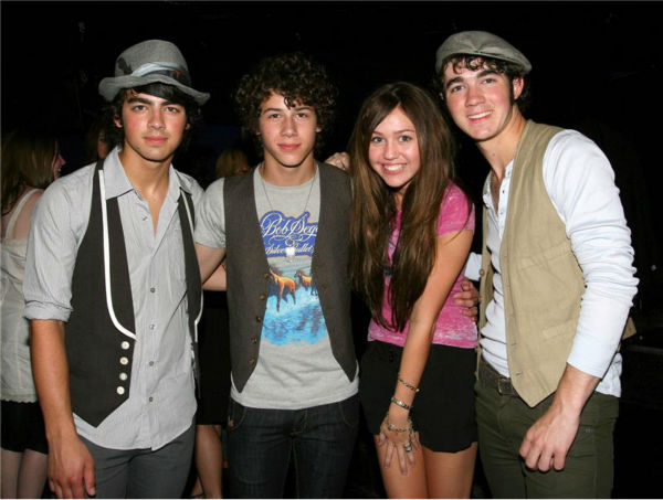 The time the Jonas Brothers performed at the rock club The Roxy in Hollywood&#39;s famed Sunset Strip -- and attended an after party with Miley Cyrus, star of the Disney Channel series &#39;Hannah Montana,&#39; on July 31, 2007. They would later open for the singer on tour. <span class=meta>(Michael Williams &#47; Startraksphoto.com)</span>