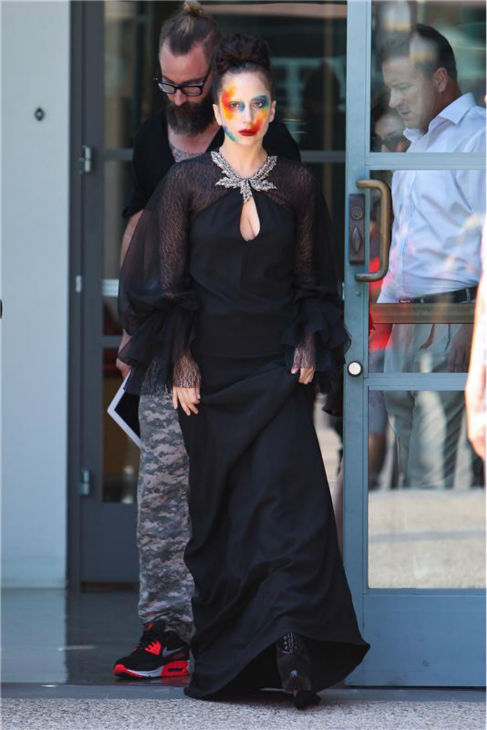 "<div class=""meta ""><span class=""caption-text "">Lady Gaga walks on a Los Angeles street after taping an interview for the syndicated KIIS-FM radio show 'On Air With Ryan Seacrest' on on Aug. 12, 2013, the day she released her new single 'Applause' following a leak she blamed on hackers. She sports similar makeup on the single's cover. (David Wright / Startraksphoto.com)</span></div>"