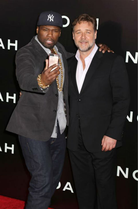 "<div class=""meta ""><span class=""caption-text "">Russell Crowe and rapper 50 Cent appear at the premiere of 'Noah' in New York on March 26, 2014. The actor plays the title character in Darren Aronofsky's movie. (Abaca / Startraksphoto.com)</span></div>"