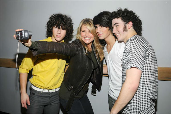 The time supermodel Christie Brinkley took a selfie with the Jonas Brothers with her own digital camera backstage at an Atlantic City, New Jersey concert, part of the &#39;Hannah Montana and Miley Cyrus: Best of Both Worlds&#39; tour, on Jan. 5, 2008. <span class=meta>(Michael Simon &#47; Startraksphoto.com)</span>