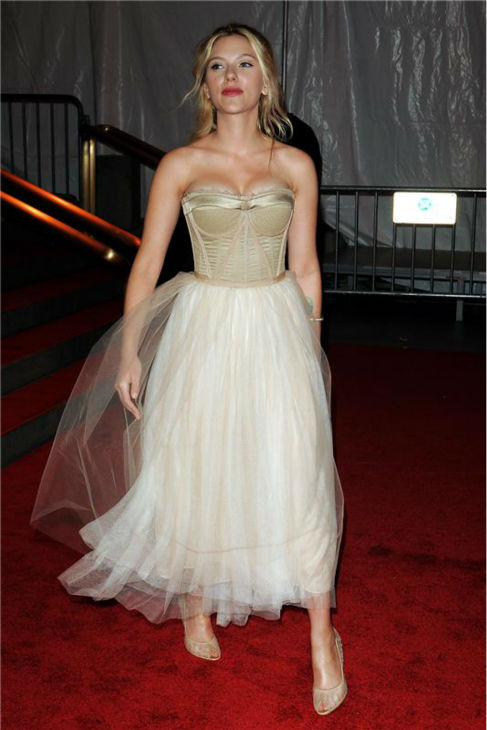 Scarlett Johansson attends the &#39;Superheroes: Fashion and Fantasy&#39; Costume Institute Gala at the Metropolitan Museum of Art in New York on May 5, 2008. <span class=meta>(Bill Davila &#47; Startraksphoto.com)</span>