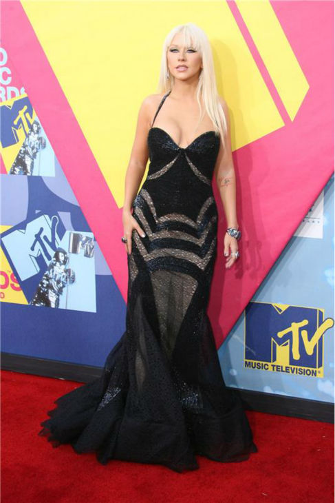 Christina Aguilera walks the red carpet at the 2008 MTV Video Music Awards in Los Angeles on Sept. 7, 2008. <span class=meta>(Jen Lowery &#47; Startraksphoto.com)</span>