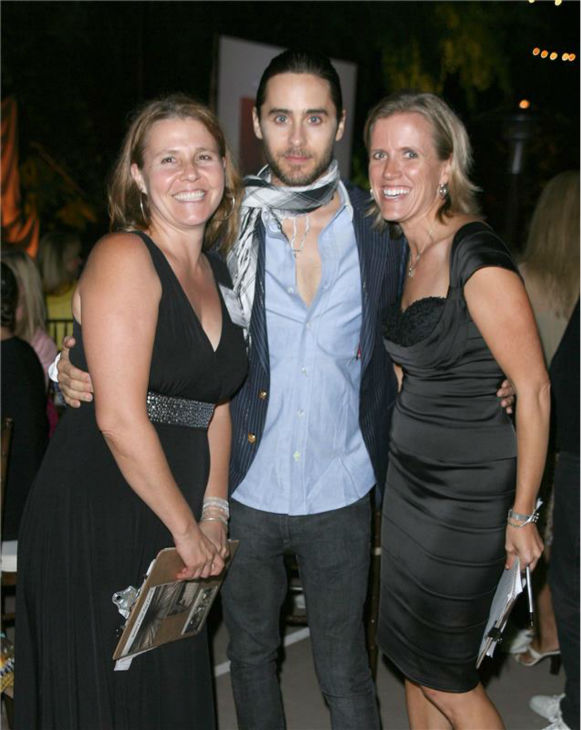 The &#39;I-Just-Made-These-Women&#39;s-Day&#39; stare: Jared Leto poses with fans at a gala benefiting the Yes on Prop 2 campaign to stop animal cruelty, held in Bel Air, California on Sept. 28, 2008. <span class=meta>(Andy Fossum &#47; Startraksphoto.com)</span>