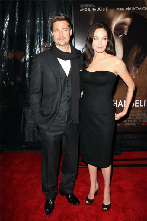 Angelina Jolie and Brad Pitt attend the premiere of 'Changeling' at the New York Film Festival on Oct. 4, 2008.