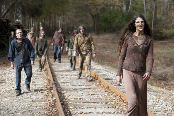 People dressed as Walkers appear in a scene from AMC&#39;s &#39;The Walking Dead&#39; season 4 finale, which aired on March 30, 2014. <span class=meta>(Gene Page &#47; AMC)</span>