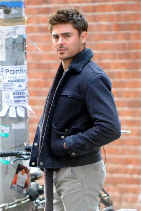 Zac Efron appears on the set of the R-rated film 'That Awkward Moment' (previously titled 'Are We Officially Dating?') in New York on Dec. 20, 2012.