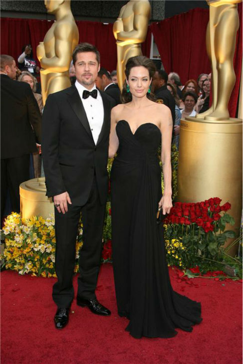 Angelina Jolie and Brad Pitt attend the 2009 Oscars in Hollywood, California on Feb. 22, 2009.