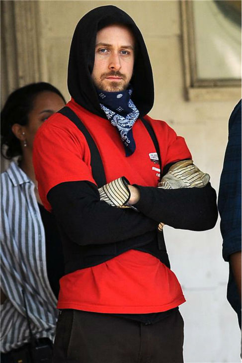 The 'Gosling-Goes-Incognito' stare: Ryan Gosling appears on the set of the movie 'Blue Valentine' in New York on May 19, 2009.