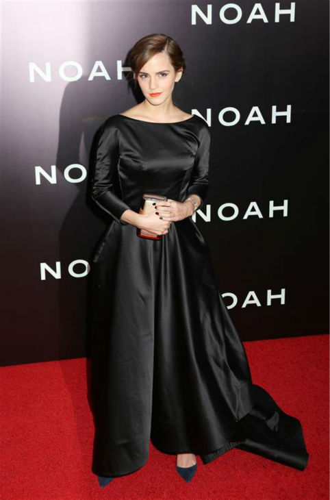 "<div class=""meta image-caption""><div class=""origin-logo origin-image ""><span></span></div><span class=""caption-text"">Emma Watson appears at the premiere of 'Noah' in New York on March 26, 2014. The actress, who is wearing a black, satin Oscar de la Renta Fall 2014 gown, plays Ila, the wife of Noah's eldest son, Shem, in Darren Aronofsky's movie. (Abaca / Startraksphoto.com)</span></div>"