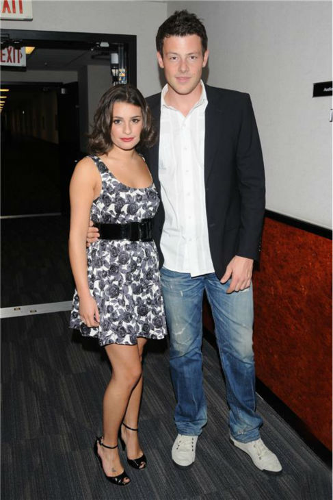 "<div class=""meta ""><span class=""caption-text "">Lea Michele and Cory Monteith pose at the studios of the TV show 'Good Day L.A.' in Los Angeles on Aug. 28, 2009. (Michael Williams / startraksphoto.com)</span></div>"