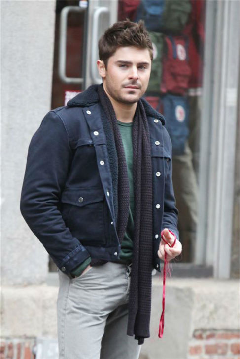 Zac Efron appears on the set of the film 'That Awkward Moment' (formerly titled 'Are We Officially Dating?') in New York on Dec. 20, 2012.