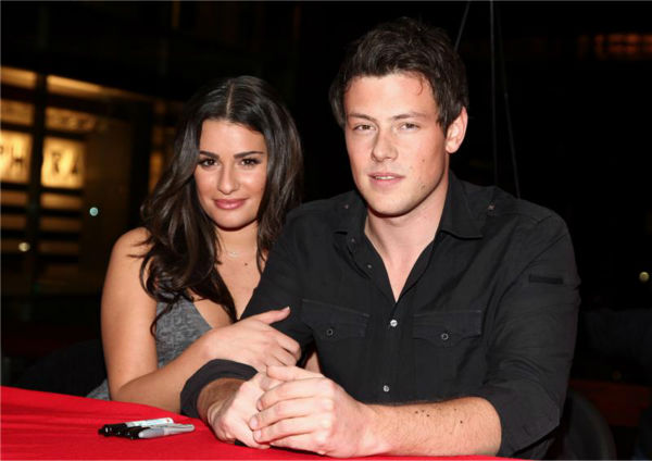 Lea Michele and Cory Monteith appear at Borders Books at the Time Warner Center in midtown Manhattan with the cast of FOX's 'Glee' on Nov. 3, 2009.