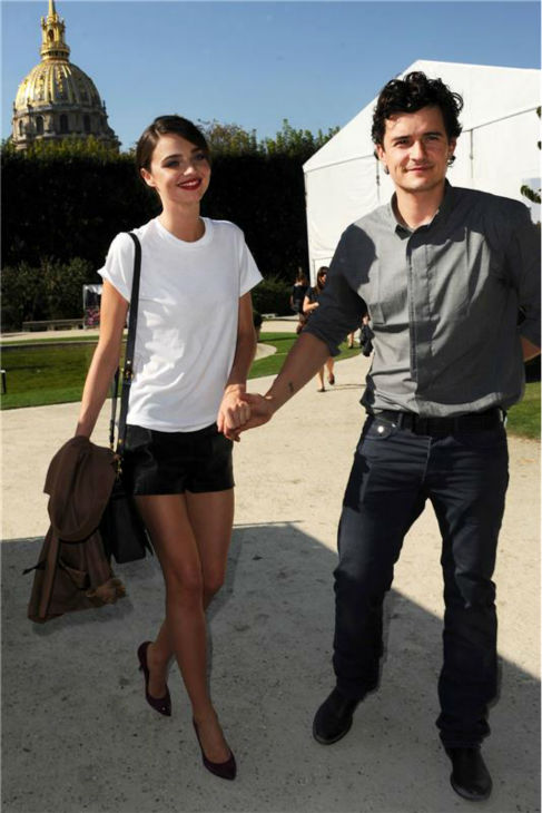 Miranda Kerr and Orlando Bloom arrive at the Lanvin Ready-To-Wear Spring&#47;Summer 2012 Collection fashion show in Paris on Sept. 9, 2011.  <span class=meta>(Joseph Kerlakian &#47; Startraksphoto.com)</span>