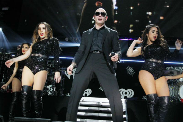 Rapper Pitbull performs on stage at the 2013 Z100 Jingle Ball on Dec. 13, 2013. <span class=meta>(Amanda Schwab &#47; Startraksphotos.com)</span>