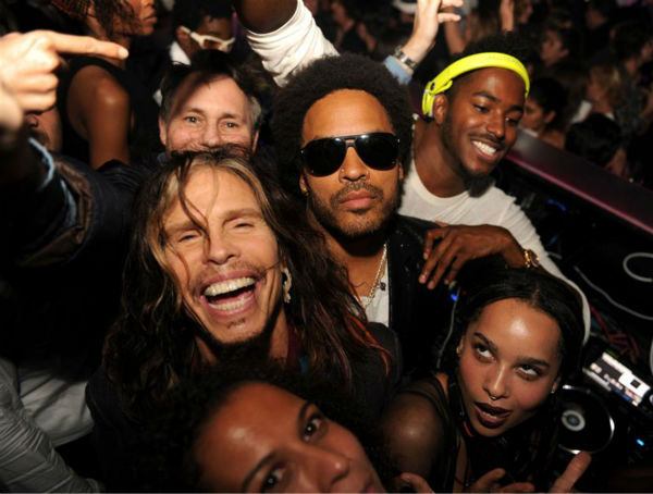 The time Steven Tyler, Lenny Kravitz, daughter Joe Kravitz, Jason Binn and Ruckus all hung out together at the Aby Rosen dinner and after party at the Dutch club in Miami Beach, Florida on Dec. 5, 2013. <span class=meta>(Seth Browarnik &#47; Startraksphoto.com)</span>