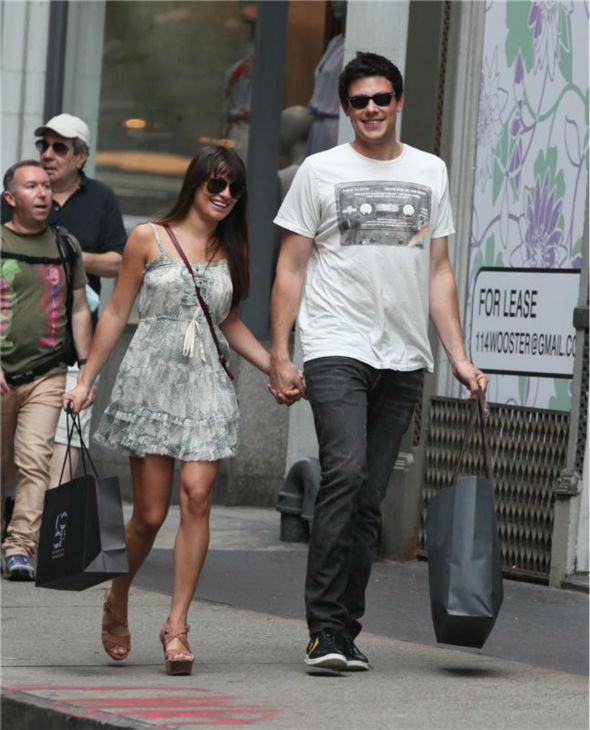 Lea Michele and Cory Monteith walk in the Soho district of New York City on May 16, 2012.