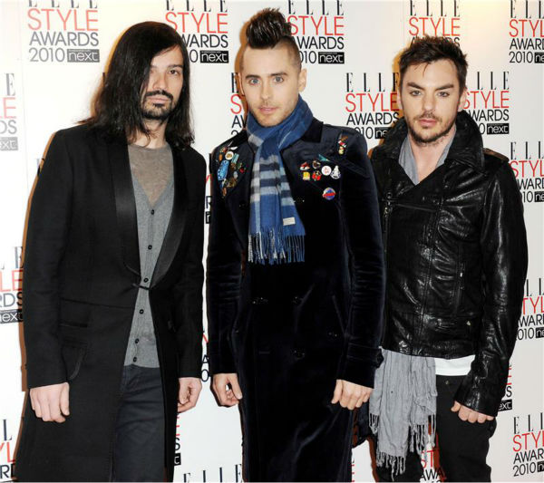 Jared Leto appears with Thirty Seconds To Mars band mates Shannon Leto -- his brother, and Tomo Milisevic at the 2010 ELLE Style Awards in London on Feb. 22, 2010.