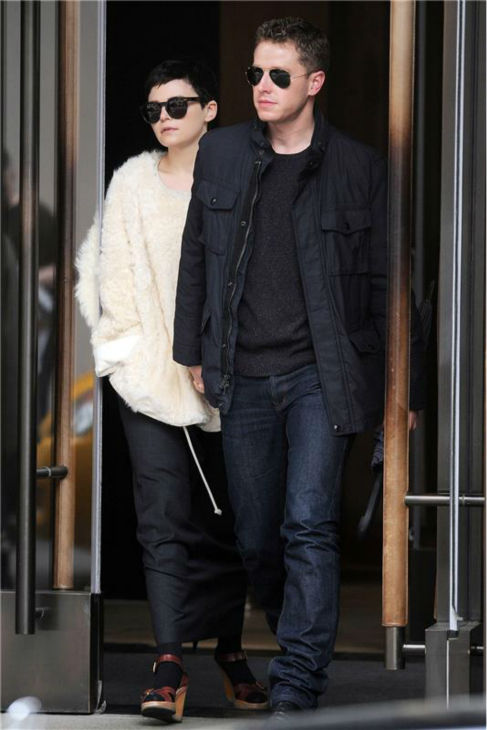 &#39;Once Upon A Time&#39; stars Ginnifer Goodwin and boyfriend Josh Dallas leave their hotel in the Soho area of New York City on May 8, 2012. <span class=meta>(Ken Katz &#47; Startraksphoto.com)</span>