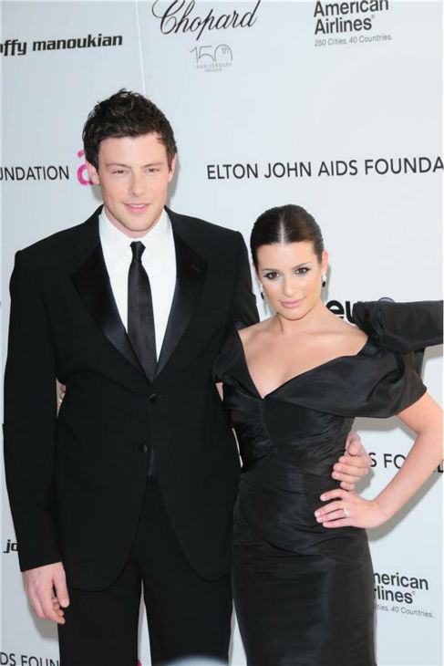 Cory Monteith and Lea Michele attend the 18th annual Elton John AID Foundation post-Oscars party at the Pacific Design Center in West Hollywood, California on March 7, 2010.