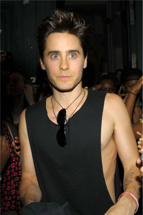"<div class=""meta ""><span class=""caption-text "">The 'Baby-It's-Not-Cold-Outside' stare: Jared Leto appears at Kanye West's Dw Ready-To-Wear Spring/Summer 2012 fashion show in Paris on Oct. 1, 2011. (Xavier Derussit / Startraksphoto.com)</span></div>"