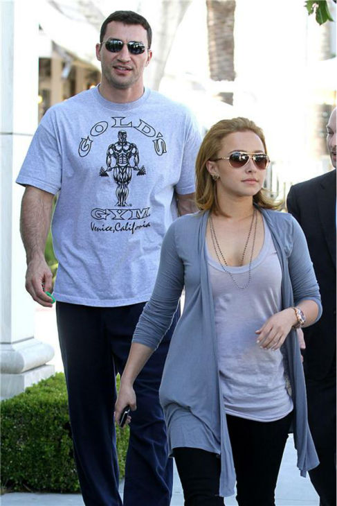 Hayden Panettiere and Wladimir Klitschko appear in West Hollywood, near Los angeles, on April 8, 2010. <span class=meta>(Norman Scott &#47; Startraksphoto.com)</span>