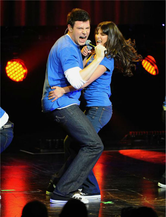 Cory Monteith and Lea Michele perform together (as Finn and Rachel) with their 'Glee' co-stars (not picture) in Los Angeles on May 20, 2010.