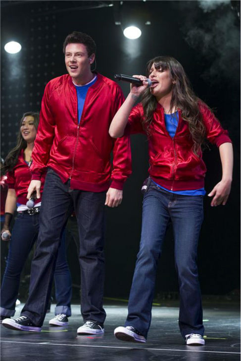 Cory Monteith and Lea Michele perform together (as Finn and Rachel) with their 'Glee' co-stars (not picture) in New York on May 28, 2010.