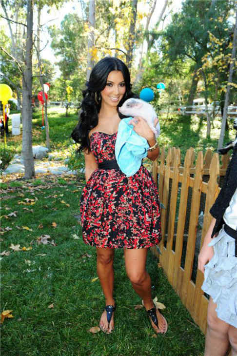Kim Kardashian holds a pig at the birthday party of nephew Mason, son of sister Kourtney and boyfriend Scott Disick, at the family's home in Calabasas, California on Dec. 12, 2010.