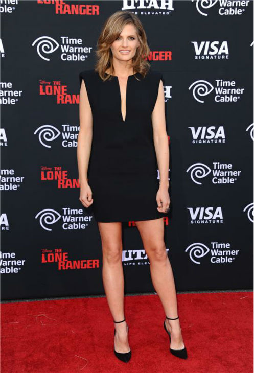 "<div class=""meta image-caption""><div class=""origin-logo origin-image ""><span></span></div><span class=""caption-text"">Stana Katic of 'Castle' attends the premiere of 'The Lone Ranger' at the Disneyland Resort in Anaheim, California on June 22, 2013. (Sara De Boer / Startraksphoto.com)</span></div>"