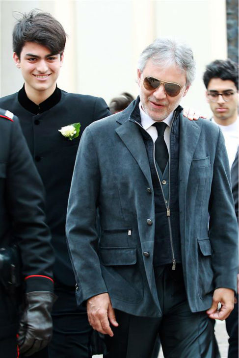 Andrea Bocelli appears with his son Matteo Bocelli, from a previous marriage, at his wedding to longtime partner Veronica Berti. The two wed at the Sanctuary of Montenero in Italy on March 21, 2014. This marks the second marriage for the famed Italian tenor. He and Berti are parents to a daughter, who celebrated her second birthday on their wedding day. He also has another son from his previous marriage. <span class=meta>(Masjordan Image &#47; Abaca &#47; Startraksphoto.com)</span>