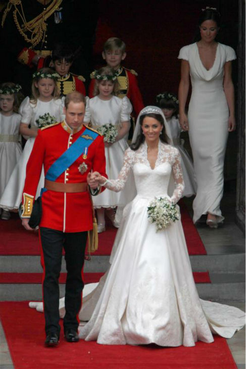 Pippa Middleton &#40;top right&#41; appears at her sister Kate Middleton&#39;s Royal Wedding to Prince William at Westminster Abbey in London on April 29, 2011. Pippa became famous due to her a cowl-neck, body-hugging, ivory bridesmaid gown by Sarah Burton at Alexander McQueen. <span class=meta>(AMH &#47; Startraksphoto.com)</span>
