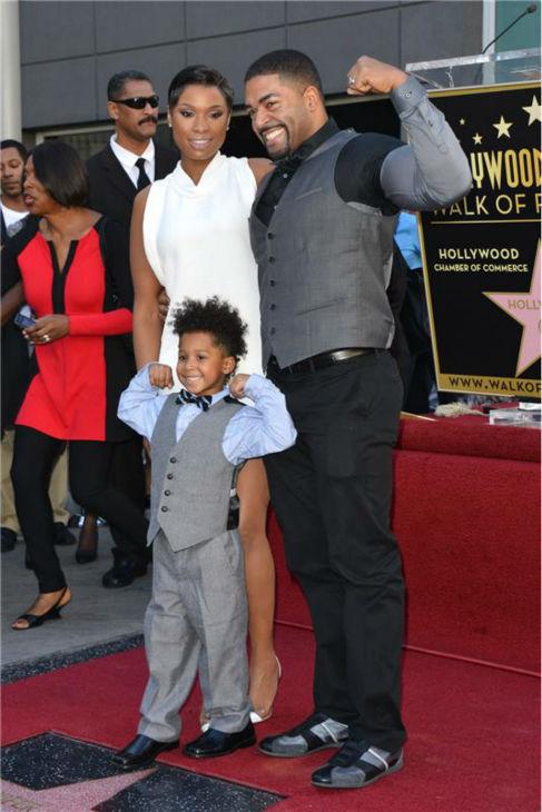 Jennifer Hudson poses with her fiance, WWE wrestler David Otunga, and their 4-year-old son, David Daniel Otunga, Jr., after near her new star on the Hollywood Walk of Fame on Nov. 13, 2013. <span class=meta>(Tony DiMaio &#47; Startraksphoto.com)</span>