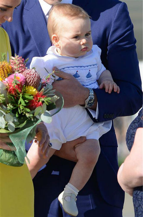 Baby Prince George appears with parents Kate Middleton, aka Catherine, Duchess of Cambridge, and Prince William after they land in Sydney, Australia, as part of their Royal Tour. <span class=meta>(Paul McConnell &#47; Startraksphoto.com)</span>