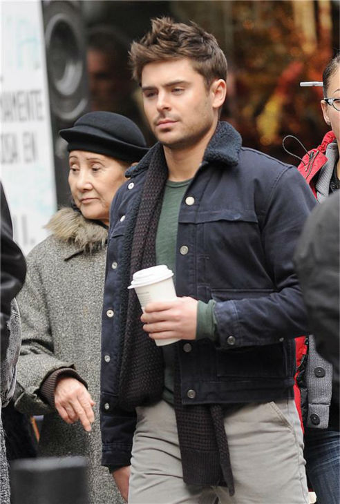Zac Efron appears on the set of the R-rated film &#39;That Awkward Moment&#39; &#40;previously titled &#39;Are We Officially Dating?&#39;&#41; in New York on Dec. 20, 2012. <span class=meta>(Bill Davila &#47; Startraksphoto.com)</span>