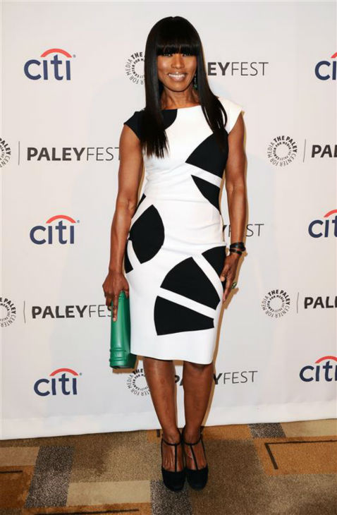 Angela Bassett appears at a PaleyFest event celebrating the FX series &#39;American Horror Story: Coven,&#39; presented by the Paley Center for Media, at the Dolby Theatre in Hollywood, California on March 28, 2014. She is wearing a black and white La Petite Robe by Chiara Boni cocktail dress. <span class=meta>(Sara De Boer &#47; Startraksphoto.com)</span>