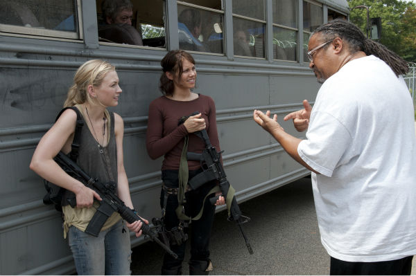 Emily Kinney &#40;Beth Greene&#41;, Lauren Cohan &#40;her sister, Maggie Greene&#41; and director Ernest Dickerson appear on the set of AMC&#39;s &#39;The Walking Dead&#39;s season 4 midesason finale, which aired on Dec. 1, 2013. <span class=meta>(Gene Page &#47; AMC)</span>