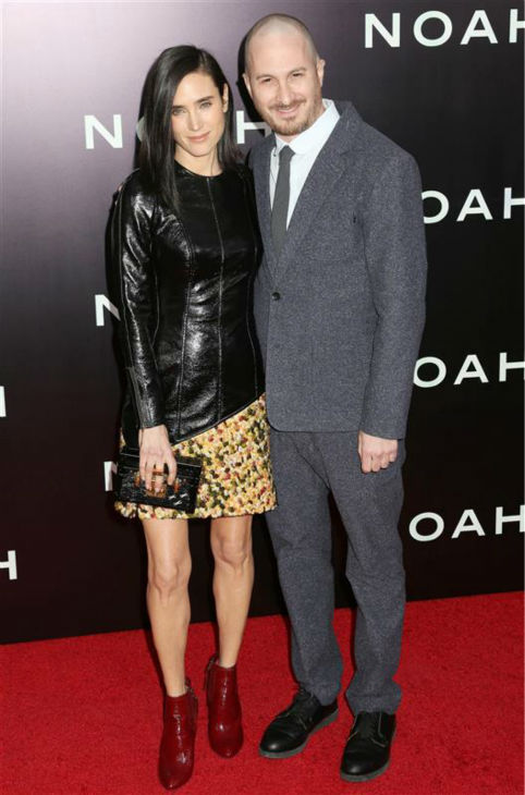 Jennifer Connelly and &#39;Noah&#39; director Darren Aronofsky appear at the premiere of &#39;Noah&#39; in New York on March 26, 2014. The actress, who is wearing a custom-made Louis Vuitton leather and yellow tweed mini-dress, plays Noah&#39;s wife, Naameh, in the movie. <span class=meta>(Abaca &#47; Startraksphoto.com)</span>