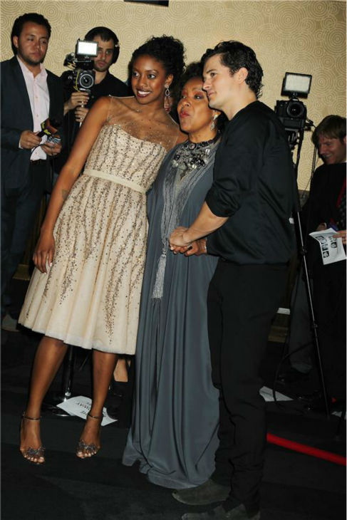 Orlando Bloom appears with co-star Condola Rashad and mother Pylicia Rashad of &#39;The Cosby Show&#39; fame at the opening night party for the play &#39;Romeo and Juliet,&#39; which marks the actor&#39;s Broadway debut, in New York on Sept. 19, 2013. <span class=meta>(Dave Allocca &#47; Startraksphoto.com)</span>