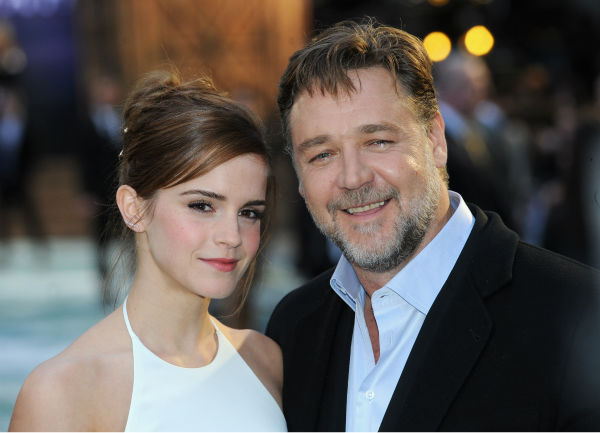 "<div class=""meta image-caption""><div class=""origin-logo origin-image ""><span></span></div><span class=""caption-text"">Emma Watson, wearing a one-of-a-kind, flowing, white Ralph Lauren collection halter gown, and co-star Russell Crowe appears at the 'Noah' London premiere on March 31, 2014. He plays Noah and she plays Ila, wife of his character's son Shem. (Dave J Hogan / Getty Images for Paramount Pictures International)</span></div>"