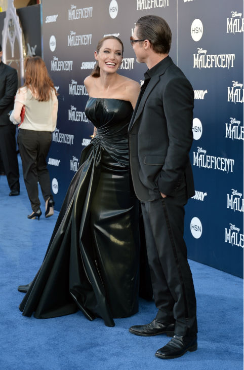 Angelina Jolie and Brad Pitt attend the premiere of Disney&#39;s &#39;Maleficent&#39; in Hollywood, California on May 28, 2014. <span class=meta>(Alberto E. Rodriguez &#47; Getty Images for Disney)</span>