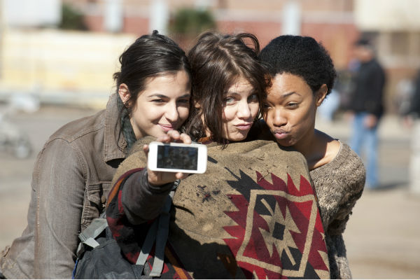 Alanna Masterson &#40;Tara&#41;, Lauren Cohan &#40;Maggie Greene&#41; and Sonequa Martin-Green &#40;Sasha&#41; pose for a selfie on the set of AMC&#39;s &#39;The Walking Dead&#39; season 4. The finale aired on March 30, 2014. <span class=meta>(Gene Page &#47; AMC)</span>