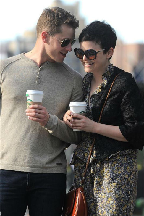 &#39;Once Upon A Time&#39; stars Ginnifer Goodwin and boyfriend Josh Dallas walk in the Soho area of New York City on May 12, 2012. <span class=meta>(Ken Katz &#47; Startraksphoto.com)</span>