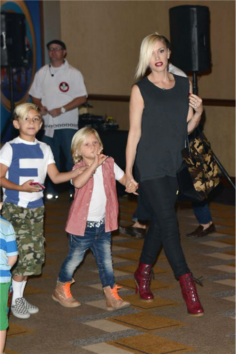 Gwen Stefani and sons Kingston and Zuma attend the premiere of the Disney Junior Live On Tour! Pirate and Princess Adventure event in Hollywood, California on Sept. 29, 2013.